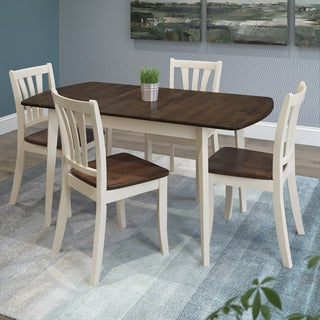 CorLiving Dillon Walnut and Cream Rubberwood 5-piece Extendable Dining Set