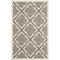 Martha Stewart by Safavieh Woven Lattice Taupe / Ivory / Taupe / Ivory Wool Area Rug - 4' x 6'