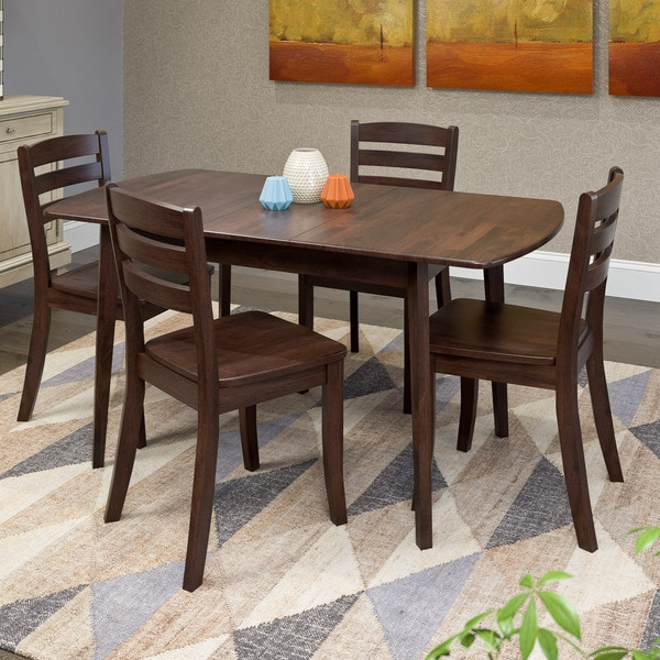Whitley Cappuccino 5 Piece Dinette Set: Shop CorLiving Dillon Cappuccino Stained Solid Wood 5