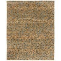 Martha Stewart by Safavieh Abstract Trellis / Brown / Grey Silk / Wool Area Rug - 6' x 9'