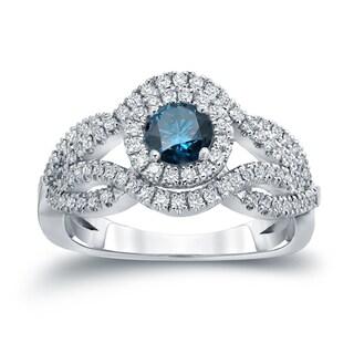 Auriya 14k Gold 1ct TDW Blue Diamond Cluster Engagement Ring ( H-I I1-I2)