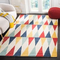 Martha Stewart by Safavieh Backgammon Azurite / Red / Blue Wool Area Rug - 5' x 8'