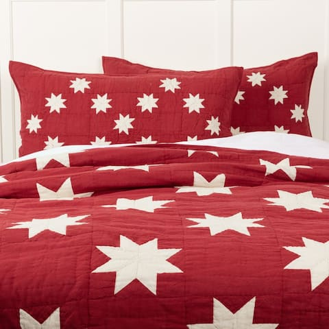 Red Farmhouse Bedding VHC Kent Sham Cotton Star Chambray