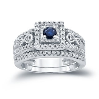 Auriya 14k Gold 1/4ct Blue Sapphire and 2/5ct TDW Diamond Cluster Bridal Ring Set (H-I, I1-I2)