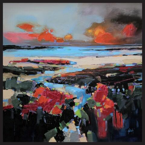 Hobbitholeco Scott Naismith 'Rocky Beach' Framed Gel Brush Finish Gallery Wrapped Canvas Wall Art