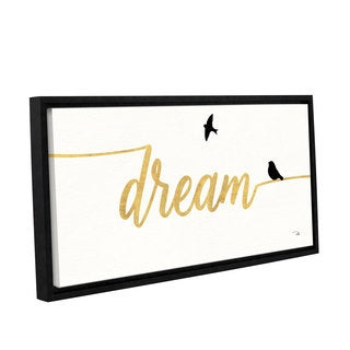 Studio Pela's 'Birds on Words III Gold' Gallery Wrapped Floater-framed Canvas