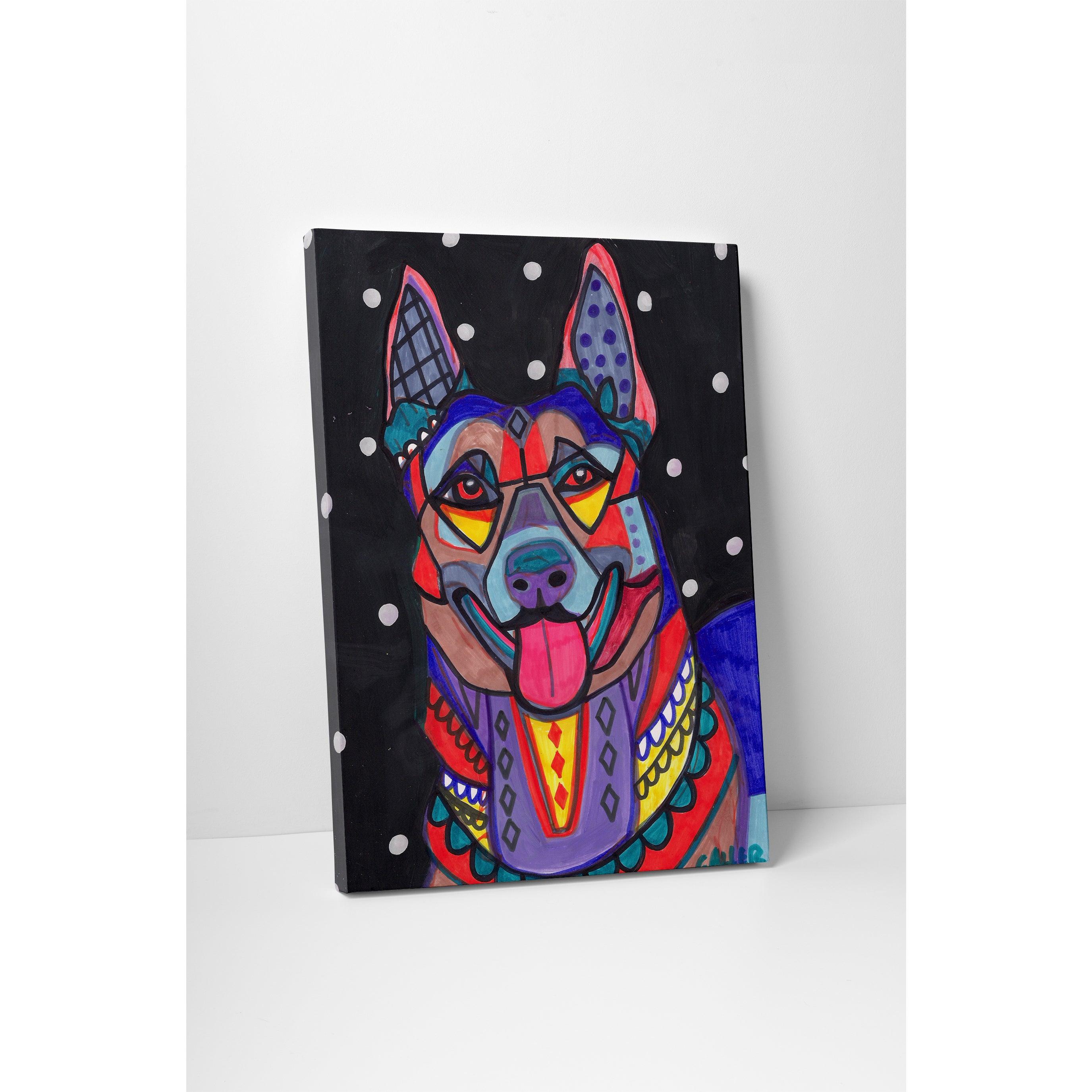 "Heather Galler German Shepherd Dog Gallery Wrapped Canvas 16/""x20/"""