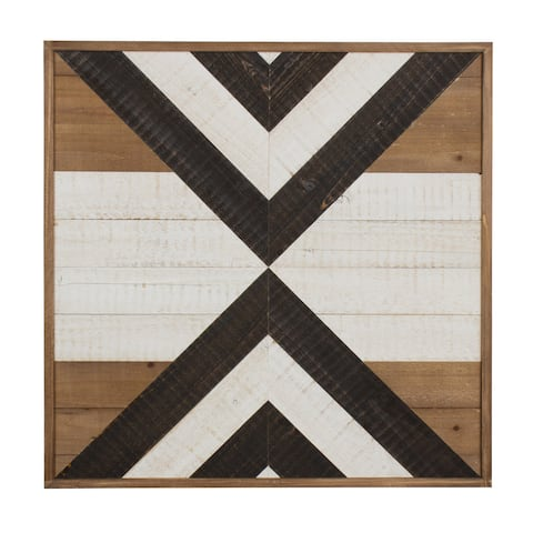 Kate and Laurel Baralt Shiplap Black, White, and Rustic Brown Wood Plank Art