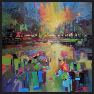 Hobbitholeco, Scott Naismith 'Crowd' Framed Gel Brush Finish Gallery Wrapped Canvas Wall Art Decor