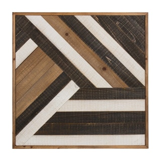 Kate And Laurel Ballez Shiplap Black, White, And Rustic Brown Wood Plank Art