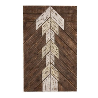 Kate and Laurel Airos White Arrow Rustic Plank Wood Art Plaque