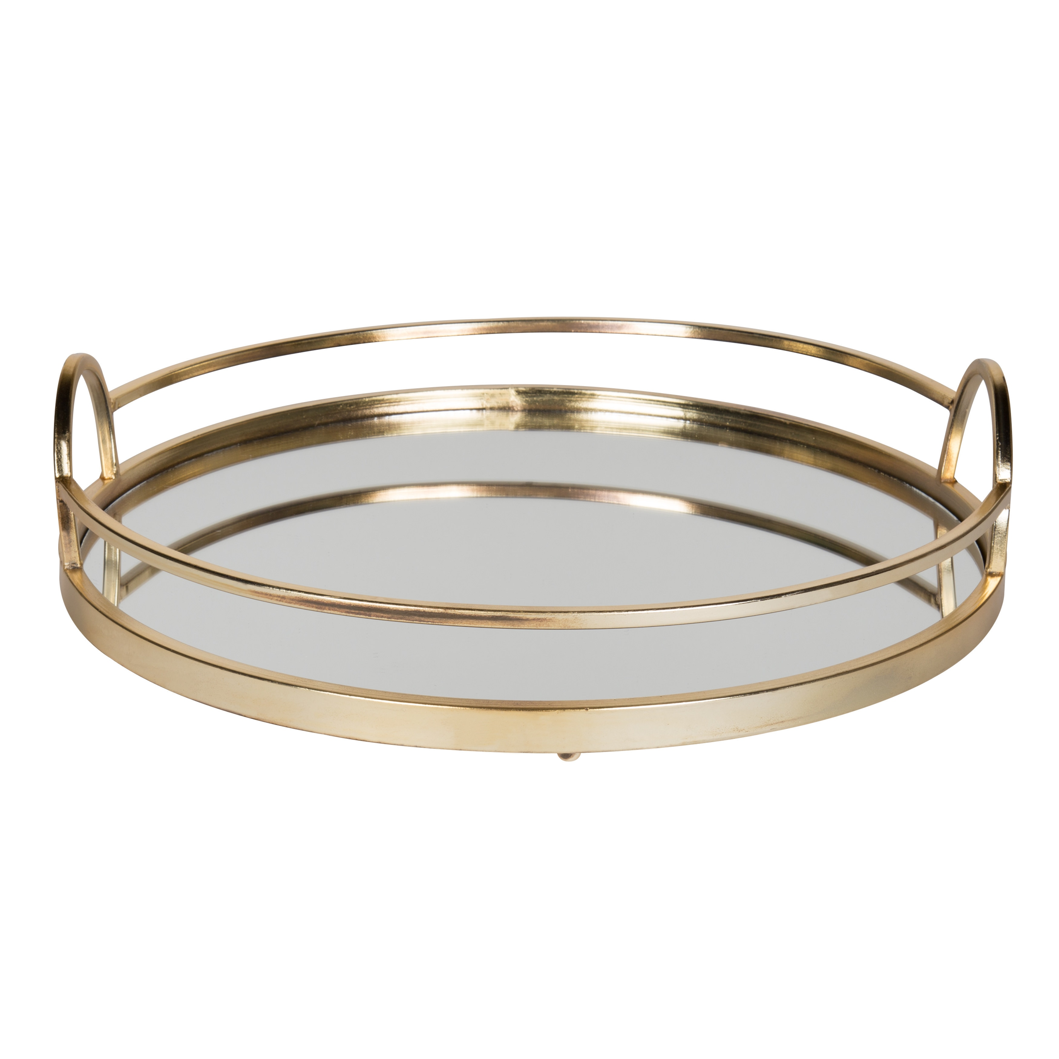 Shop Kate And Laurel Naples Gold Metal Mirrored Round Decorative Tray Overstock 15439075