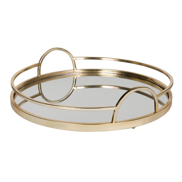 Kate and Laurel Naples Gold Metal Mirrored Round Decorative Tray
