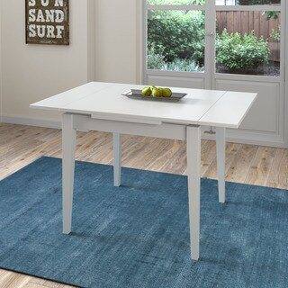 CorLiving Dillon White Extendable Dining Table with Two 8-inch Leaves