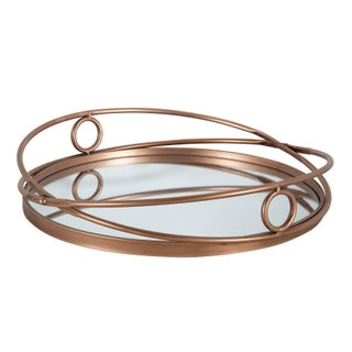 Kate and Laurel Delray Metal Mirrored Round Decorative Tray