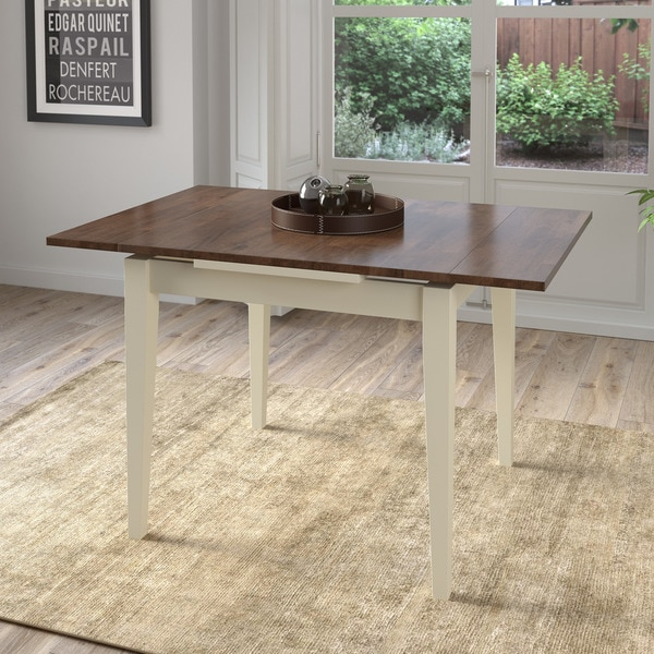 Corliving Dark Brown Cream Extendable Square Dining Table Walnut