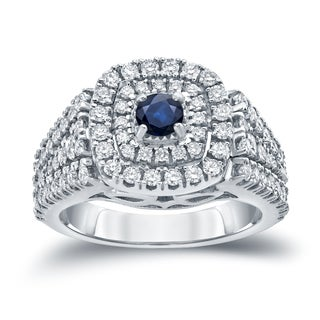 Auriya 14k Gold 1/4ct Blue Sapphire and 1ct TDW Diamond Cluster Engagement Ring (H-I, I1-I2)