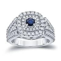 Auriya 14k Gold 1/4ct Blue Sapphire and 1ct TDW Halo Diamond Engagement Ring
