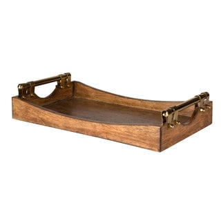 Kate and Laurel Ormond Walnut Wood Decorative Tray with Gold Metal Handles