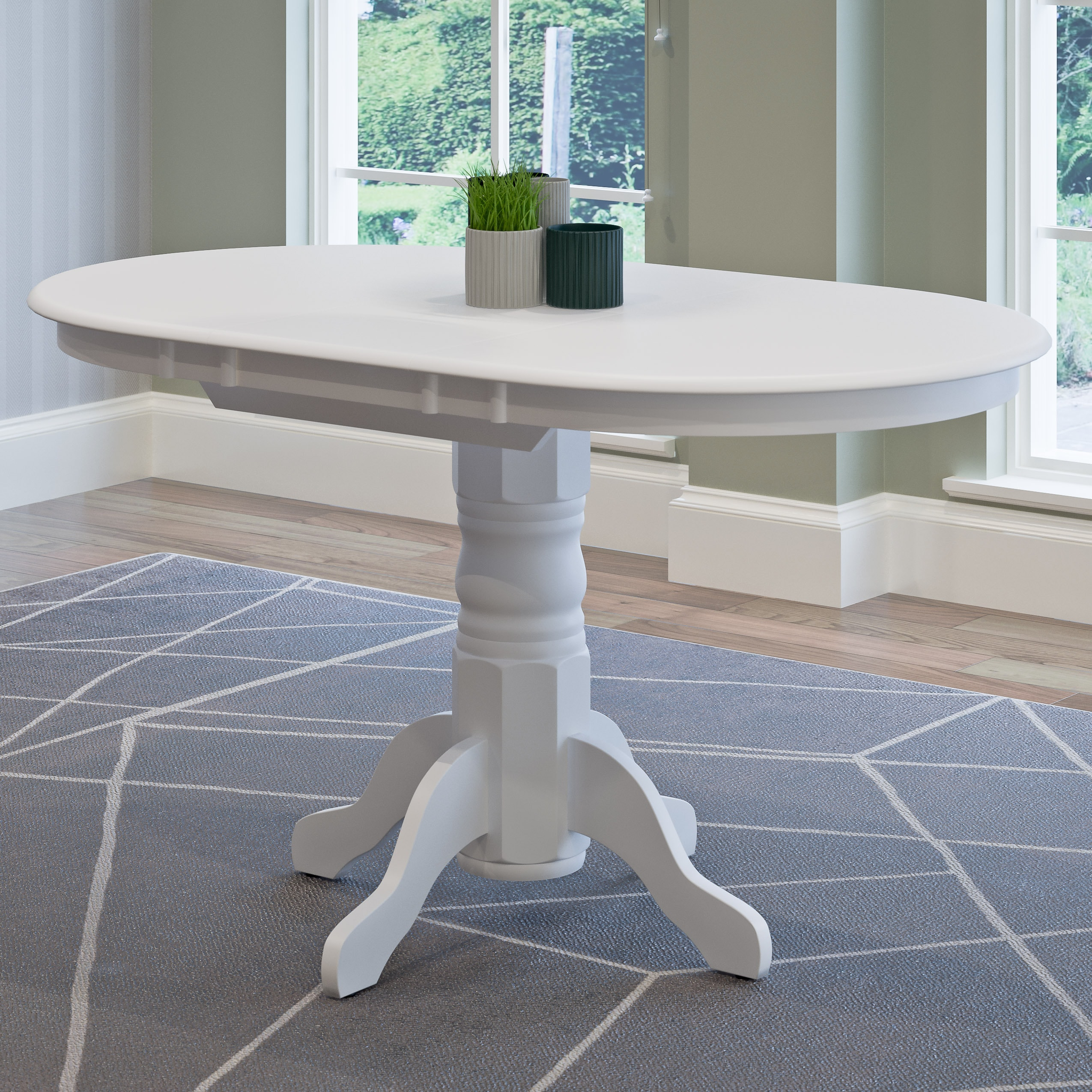 The Gray Barn Badger Hill White Extendable Oval Pedestal Dining Table