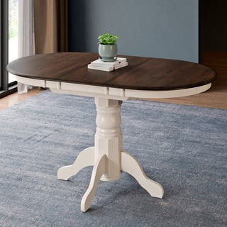 corliving dark browncream extenable oval pedestal dining table walnut - Oval Kitchen Table