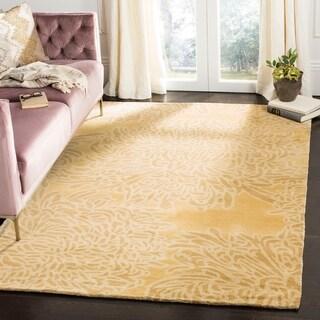 Martha Stewart by Safavieh Chrysanthemum Malted / Yellow Wool Area Rug - 5' x 8'