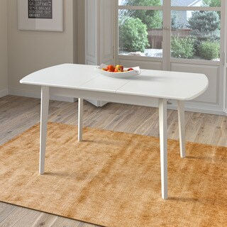 CorLiving Dillon White Oblong Extendable Dining Table with 12-inch Butterfly Leaf