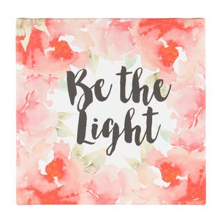 DesignOvation Be The Light 14x14 Watercolor Inspirational Quote Canvas Art