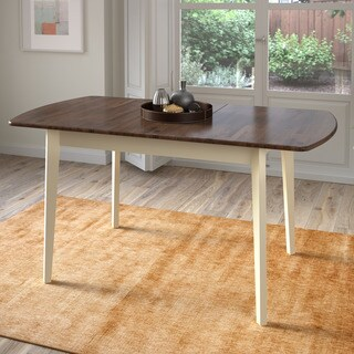 CorLiving Dark Brown/Cream Extendable Oblong Dining Table - Walnut