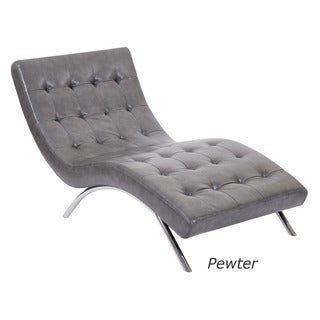 Ave Six Blake Tufted Chaise Lounge Chair in Faux Leather