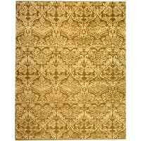 Martha Stewart by Safavieh Damask Pedestal / Tan Wool / Linen Area Rug - 6' x 9'
