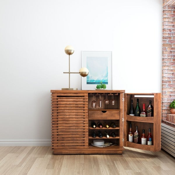 Zuo Linea Walnut Finish Rubberwood Bar Cabinet