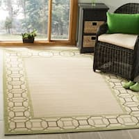 Martha Stewart by Safavieh Facet Border Beach Grass / Green / Beige Area Rug - 6'7 x 9'6