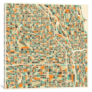 iCanvas Abstract City Map of Chicago by Jazzberry Blue Canvas Print