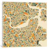 iCanvas 'Abstract City Map of Boston' by Jazzberry Blue Canvas Print