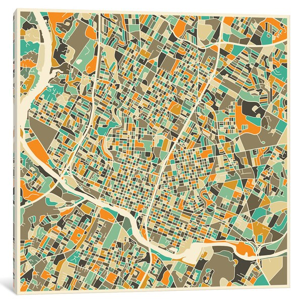 Shop iCanvas \'Abstract City Map of Austin\' by Jazzberry Blue Canvas ...
