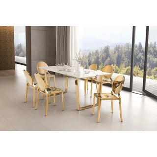 Atlas Goldtone Stone Dining Table