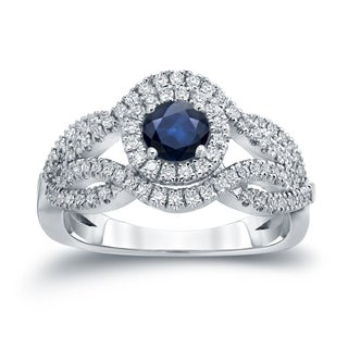 Auriya 14k Gold 1/2ct Blue Sapphire and 1/2ct TDW Diamond Cluster Engagement Ring (H-I, I1-I2)