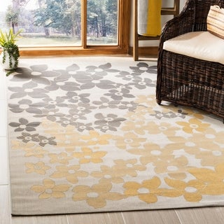 Martha Stewart by Safavieh Field Flowers Light Grey / Anthracite / Grey / Yellow Area Rug (5'3 x 7'7