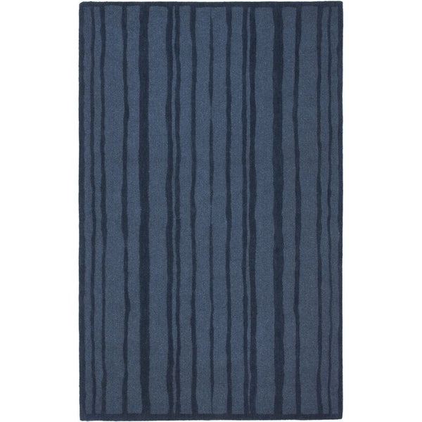 Martha Stewart by Safavieh Freehand Stripe Wrought Iron / Blue Wool Area Rug - 5' x 8'