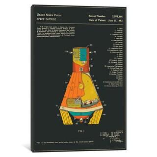 iCanvas 'NASA Space Capsule Patent (Black)' by Jazzberry Blue Canvas Print