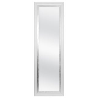 MCS White Woodgrain Framed Wall Mirror with Silver Leaf Accent