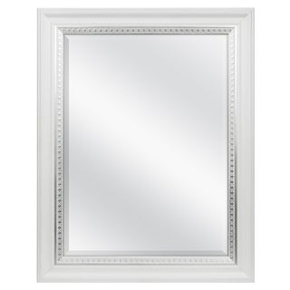 white woodgrain wall mirror w silver leaf accent