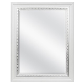 White Woodgrain Wall Mirror with Silver Leaf Accent