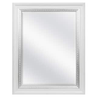white woodgrain wall mirror with silver leaf accent - White Frame Mirror