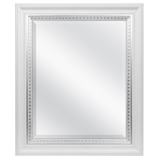 MCS Industries White Woodgrain Wall Mirror with Silver Leaf Accent