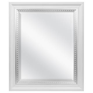 mcs industries white woodgrain wall mirror with silver leaf accent - White Frame Mirror