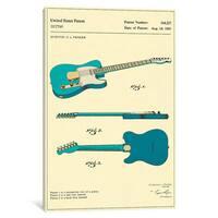 iCanvas 'C.L. Fender Guitar Patent' by Jazzberry Blue Canvas Print