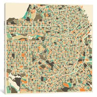 iCanvas 'Abstract City Map of San Francisco' by Jazzberry Blue Canvas Print