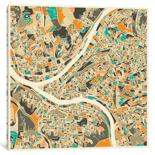 iCanvas 'Abstract City Map of Pittsburgh' by Jazzberry Blue Canvas Print